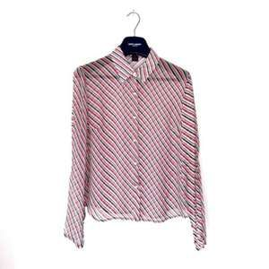 THE LIMITED SILK STRIPE STRIPED BUTTON DOWN BLOUSE